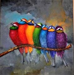 Solve Colorful Birds jigsaw puzzle online with 361 pieces Fabric Painting, Diy Painting, Fence Painting, Facebook E Instagram, Colorful Birds, Whimsical Art, Bird Art, Art And Architecture, Art Journals