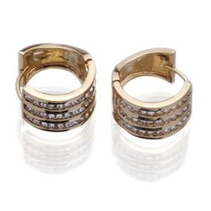 Golden Hoop Loop Lady 18KGP Crystal Earrings Ear Ring Clip Stud