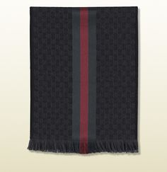 Gucci GG jacquard knit scarf with web and fringe on shopstyle.com