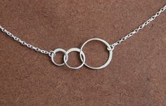 Interlocking rings necklace - sterling silver triple link circles and 16 inch…