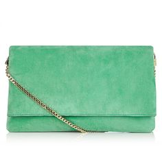 The Brompton clutch ($140) ❤ liked on Polyvore featuring bags, handbags, clutches, suede purse, green purse, foldover purse, suede handbags and fold-over handbags