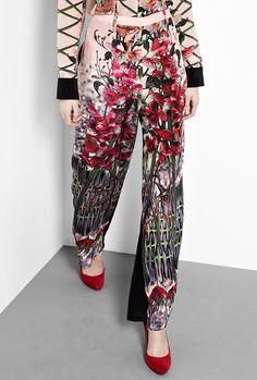 Maya Floral Silk Wide Leg Trousers by Hermione de Paula