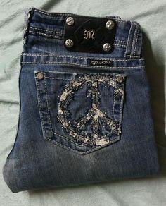 Miss Me Size 27 Boot Cut Denim Jeans Peace Sign Pockets  #MissMe #BootCut