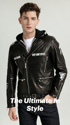 Leather Jacket With Hood, Leather Jacket Outfits, Leather Jackets, Riders Jacket, Moto Jacket, Leather Men, Black Leather, Business Fashion, Hooded Jacket