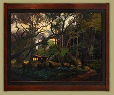"""Coffee's On"" (revised) | Jan Schmuckal | Dard Hunter Studios Frame | Arts and Crafts | Craftsman | Bungalow | Cabin | Woods"