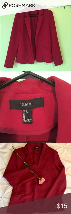 💅🏼👠Forever 21 Solid Red Blazer 👠💅🏼 An absolute closet essential in a stunning power color! Can easily be dressed up or down, this versatile piece is a must have! Size Large runs smallish. Light shoulder padding. Great condition a few loose threads inside of pocket and inner seams and some light creasing. Two front pockets Forever 21 Jackets & Coats Blazers