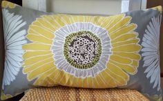 Decorative Pillow Sunflower Taupe Gray Gold Yellow via Etsy.
