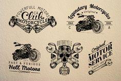 Vintage biker Logos & Badges by Chewie Co on Creative Market