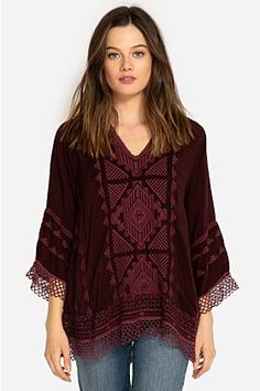 online shopping for Johnny Was Renee Lace Blouse - from top store. See new offer for Johnny Was Renee Lace Blouse - Johnny Was, Blouse Patterns, Crochet Lace, The Ordinary, Lace Trim, Long Sleeve Tops, Boho Chic, Black Plum, Color Black