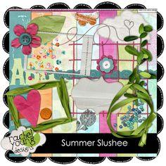 Summer Slushee mini kit #freebie from Rachel Young Designs #scrapbook #digiscrap #scrapbooking #digifree #scrap