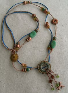 Love those beads from Outwest!! Rustic Copper Horse Lampwork Multi Strand Macrame Necklace Copper and Hand-Knotted Necklace