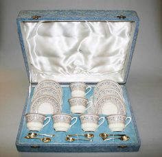 In excellent condition, in the original presentation box which is marked on the outside and shows signs of age. The coffee set and spoons are in perfect condition, no cracks or damage. The spoons are silver plate and are stamped on underside. Coffee Set, Spoons, Tea Time, Silver Plate, Presentation, Age, Silverware Tray, Spoon
