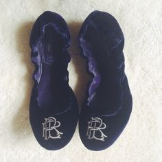 HP! Ralph Lauren | Purple Label velvet flats These rare luxe flats feature the RL monogram on the toe and a lush purple velvet material allover. Elastic backs make these super comfortable. Would best fit an 8 or narrow 8.5--run slightly small. Some wear on the inner and outer soles but the velvet is pristine! Comes with original dust bag. Happy to bundle or consider offers! Ralph Lauren Shoes Flats & Loafers