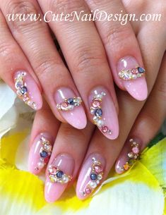 Pink Rhinestone Nails - Nail Art Gallery by NAILS Magazine