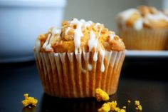 Pumpkin Crumb Muffins With Cream Cheese Glaze / Every Craving