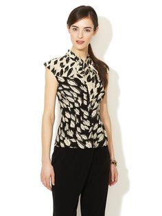 Silk Pleated Tie Neck Blouse in Black/Ecru by Tracy Reese