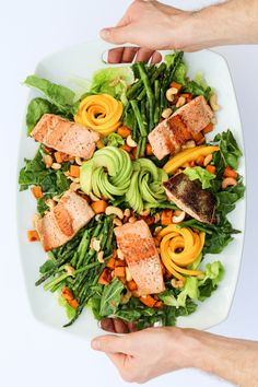 Citrusy, roasted sweet potato, swiss chard salad. A hearty spring salad with roasted sweet potatoes, avocado, asparagus, and cashews tossed with a meyer lemon dressing.