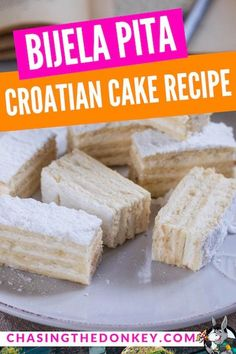 Croatian Cooking: Bijela pita is a traditional cake in Croatia and several other countries in the Balkans. Here is an easy to make bijela pita recipe, this Croatian white slice is sure to please. Serbian Recipes, Hungarian Recipes, Russian Recipes, Russian Foods, Serbian Food, Pita Recipes, Dessert Recipes, Cooking Recipes, Dessert Bread
