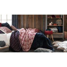 Jeté en coton rouge motifs blancs 160x210 | Maisons du Monde