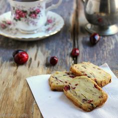 Easy recipe for freeze and slice shortbread cookies. Fruit and nuts makes them just the tiniest bit healthier!
