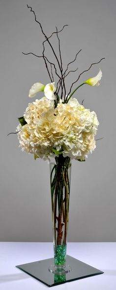 Classy Covers and Classy Event Rentals Tropical Floral Arrangements, Hydrangea Arrangements, Hydrangea Centerpieces, Cylinder Vase, White Wedding Flowers, White Wallpaper, Arte Floral, Wedding Decorations, Wedding Ideas