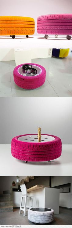 DIY upcycle tired old tires - Easy Diy Furniture Diy Projects To Try, Home Projects, Tire Table, Diy Casa, Tyres Recycle, Upcycle, Old Tires, Ideias Diy, Diy Coffee Table