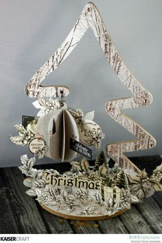'Bauble Tree' (view A) Christmas Beyond the Page Project by Rikki Graziani DT member for Kaisercraft Official Blog. Rikki is using the September 2017  'Christmas Edition' collection. Learn more at kaisercraft.com.au/blog - Wendy Schultz - Christmas Crafts.