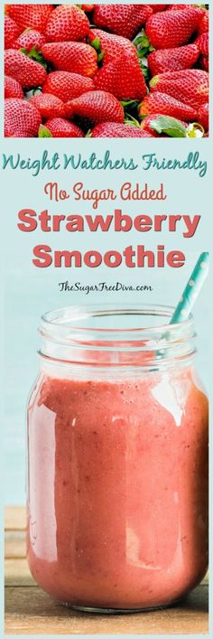 Hypoallergenic Pet Dog Food Items Diet Program Weight Watchers Friendly Strawberry Smoothie Recipe-Great Idea For Breakfast Or Even For A Snack. Yummy Too Yummy Smoothie Recipes, Healthy Breakfast Smoothies, Healthy Drinks, Healthy Breakfasts, Detox Drinks, Eating Healthy, Healthy Milk, Yummy Drinks, Clean Eating