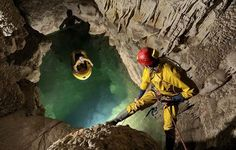 Climbers tackle the Gouffre Berger limestone cave in south-eastern France, which was once thought to be the deepest cave in the world at deep (about two-thirds of a mile). It is now ranked the deepest cave in the world. Limestone Caves, Limestone Wall, Unusual News, Bizarre News, Dark Cave, Underground Caves, Hollow Earth, Before I Sleep, Aliens And Ufos
