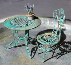 Green garden chair with rust, dollhouse miniature, scale 1:12