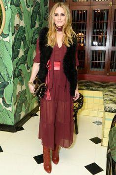 Olivia Palermo wearing Club Monaco Violet Vest and Jimmy Choo Lockett Bag