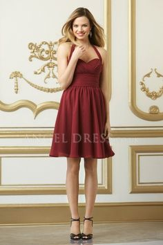 A line Chiffon With Ruching Halter Short Bridesmaid Dress