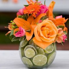orange pink and green citrus centerpiece