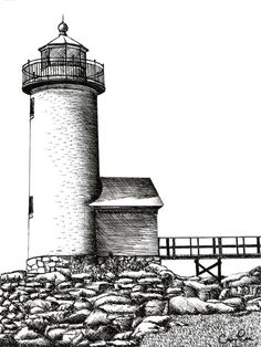 Gloucester Lighthouse Pen & Ink Drawing