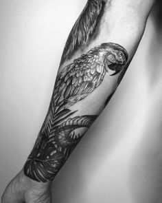 30 Adorable Parrot Tattoo Designs You will Love Lovebird Tattoo, Thigh Tattoo Designs, Tattoo Designs For Women, Tattoos For Women, Parrot Tattoo, Snake Tattoo, Forearm Tattoos, Sleeve Tattoos, Bird Tattoos