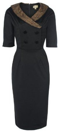 Amazon.com: Lindy Bop 'Deanna' Glamourous Black Vintage Forties Fifties Style Fitted Wiggle Dress: Clothing