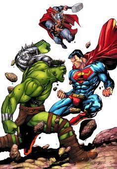 #Hulk #Fan #Art. (Hulk vs Thor vs SUPERMAN. By: JoEl. & RobertDarkSentry. (THE * 5 * STÅR * ÅWARD * OF: * AW YEAH, IT'S MAJOR ÅWESOMENESS!!!™)[THANK Ü 4 PINNING!!!<·><]<©>ÅÅÅ+(OB4E)