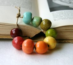 Handmade Stoneware Round Bead Set - Sampler Summer Collection - Bright Rainbow Orange Coral Apple Green. $12.50, via Etsy.
