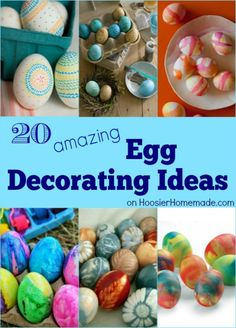 These 20 Amazing Egg Decorating Ideas will blow you away! Gather the kids and get ready to decorate the most gorgeous eggs ever! Pin to your Easter Board!