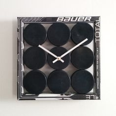 A charming, unique clock built from recycled hockey sticks and new pucks. Team logo pucks are available! You may choose to have a team logo on