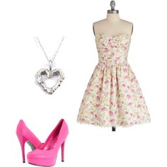 Sweetheart floral dress, pink pumps, heart necklace.