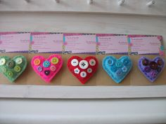 Felt and Button Heart Brooches. £3.50 each plus p