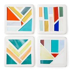 ON SALE! Stained Glass Coasters - Set of 4 | mosaic coasters, colorful | UncommonGoods