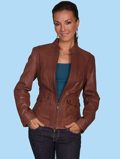 Scully Austin Leather Jacket - Cognac AT COWGIRL BLONDIE'S WESTERN BOUTIQUE
