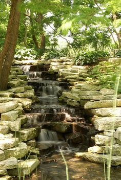 Lauritzen Botanical Garden in Omaha, Nebraska. Photo: Waterfall, by Jonathan Moreau, via Flickr.