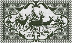 Deer in the Forest - Chart and written instructions for filet crochet. /Would be beautiful in an antique frame Filet Crochet Charts, Knitting Charts, Cross Stitch Freebies, Cross Stitch Charts, Loom Patterns, Cross Stitch Patterns, Cross Stitching, Cross Stitch Embroidery, Swedish Weaving