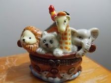 View Item: Noah's Ark Porcelain Hinged Trinket Box Collectible Boat Lion Giraffe Rooster