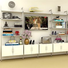 DescriptionThe Pole Mounted Media Wall Unit with shelves and 2-Drawer Cabinet. The shelves above the cabinetsare perfect for books or for displayingyour collectibles. Add more bays to complete your wall.(Limited Quantity Available, while supply lasts)Dimensions114