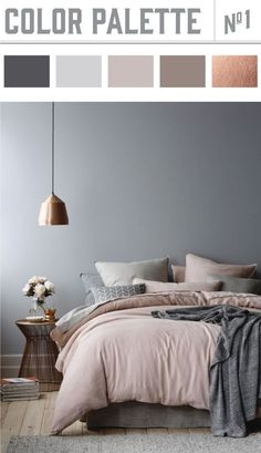 Copper and muted colors in bedroom results in a winner color palette. Wiley Valentine√ Best Paint Living Rooms Color Ideas Prodigious Badcock Furniture Bedroom Sets Ideas…Elegant Bedroom: A balanced color palette and a… Best Bedroom Colors, Bedroom Colour Palette, Palette Bed, Bedroom Colour Schemes Neutral, Grey Palette, Colour Schemes Grey, Colourful Bedroom, Colour Combo, Dream Bedroom