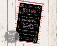 Custom Girl Baby Shower Invitation  Digital Download by PLPrints  Paper & Party Supplies  Paper  Invitations & Announcements  Invitations  girl  shower  baby shower  pink  chalkboard girl shower  stripes  rustic  printable  custom  download  baby  invitation